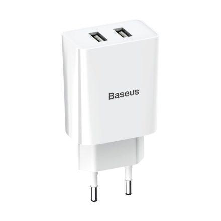 Baseus fali adapter, töltő, 2 USB foglalattal, gyorstöltés támogatottság, (CCFS-R02), Fehér