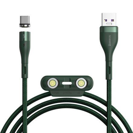 Baseus Zinc Magnetic kábel cserélhető fejű (iPhone/ Type C/ MicroUSB) - (1m, LED, 5A, 480Mbps CA1T3-B06), zöld