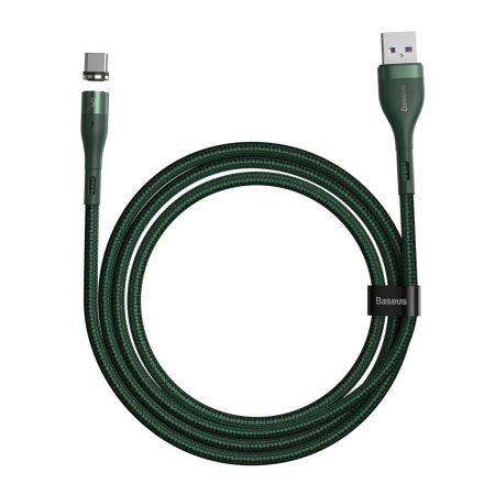 Baseus Zinc USB/Type-C kábel, 3A, 1m, QC, AFC, lehevető Mágneses fej - CATXC-N06, zöld/Fekete