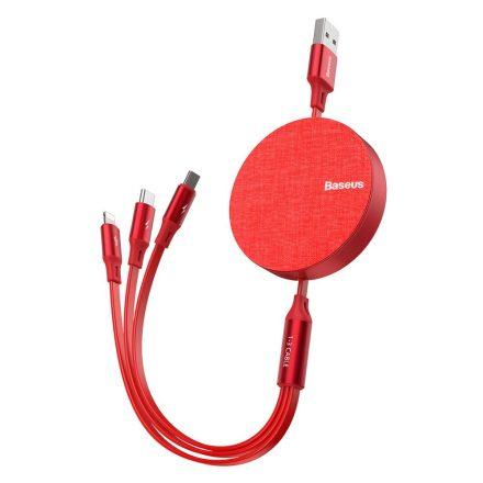 Baseus Fabric 3in1 kíhúzható adat és töltőkábel (CAMLT-BY09), Piros