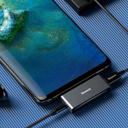 Baseus L57 audio adapter Type C / Type C és 3,5mm Jack elosztó CATL57-01 ezüst