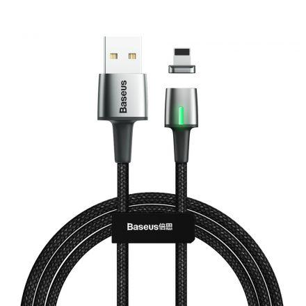 Baseus Zinc Magnetic adat és töltőkábel (iPhone - Lightning, 2m, LED, 2A, levehető fej, 480Mbps Max) (CALXC-B01) fekete
