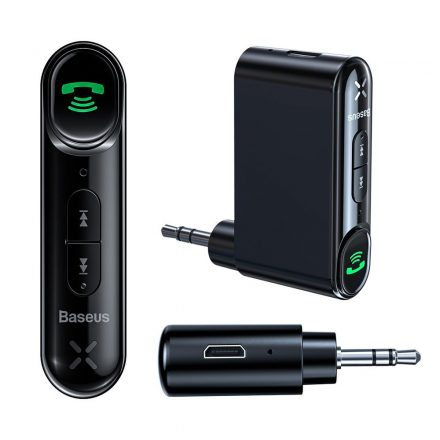 Baseus Baseus Qiyin Átalakító audio bluetooth Jack 3,5mm AUX fekete Transmiter vevő autós kihangosításhoz, akkumulátprral
