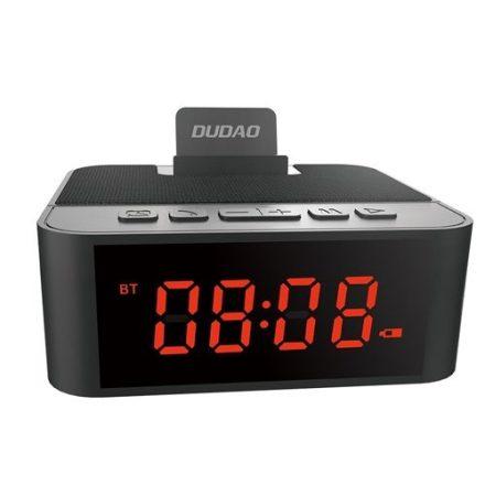 Dudao bluetooth hangszóró, ébresztős óra, rádió, Aux/kártya bemenet, akkumulátor (1800mAh) 12cmX11cmX4,5cm 2,5cm számokkal