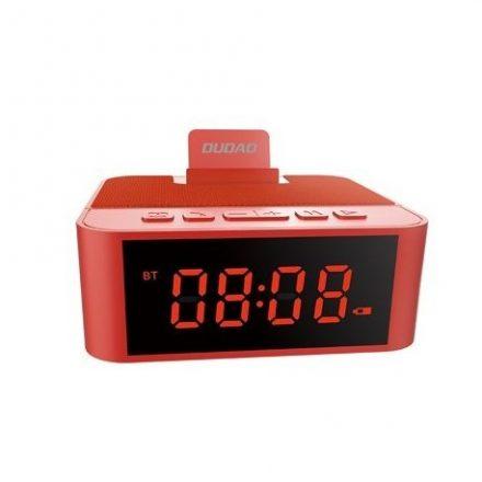 Dudao bluetooth hangszóró, ébresztős óra, rádió, Aux/kártya bemenet, akkumulátor (1800mAh), Piros 12cmX11cmX4,5cm 2,5cm számokka
