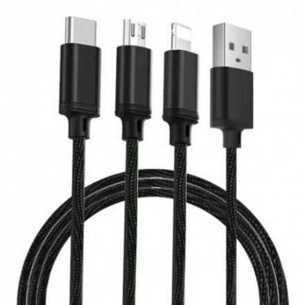 Remax Proda 3in1 PD-B31th nejlon bevonatos extra tartós telefon adatkábel Lightning, Type C és USB fekete