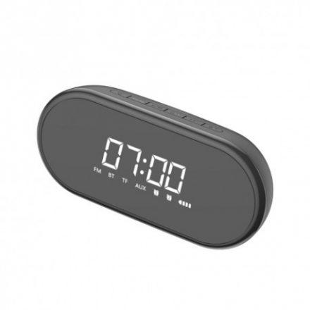 Baseus Encok E09 bluetooth hangszóró, ébresztős óra, rádió, Aux/kártya bemenet, fekete