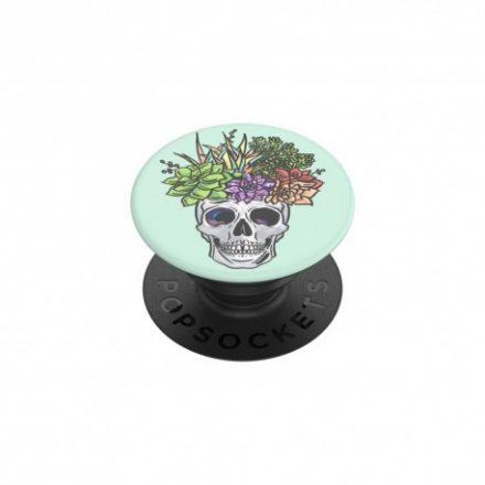 Telefonra/telefontokra ragasztható popsocket, koponya/virág mintás